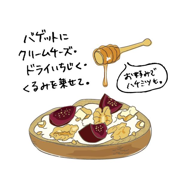 バゲッドクリームチーズ・パンフレットイラスト